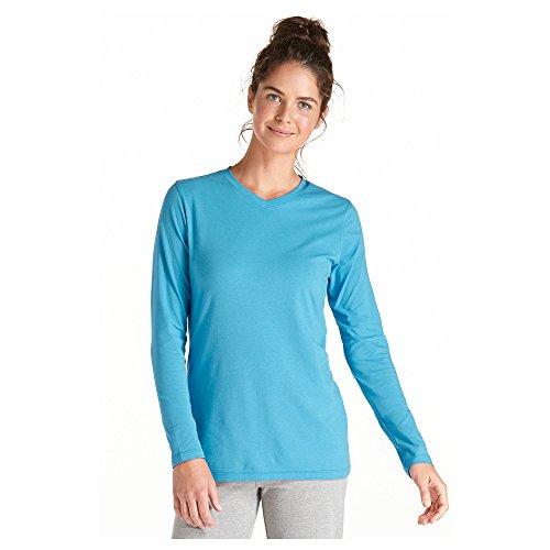 Coolibar UPF 50+ Women's ZnO V-Neck T-shirt - Sun Protection (Medium - Pool Party)