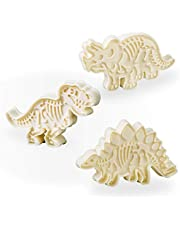 Jurassic Dinosaur Cookie Cutters & Skeleton Pattern Stampers T-Rex Stegosaurus Triceratops Fossil Shapes Mold Cutters (Pack of 6)