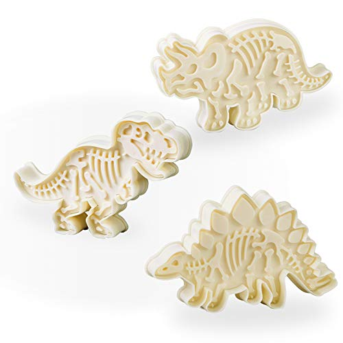 Jurassic Dinosaur Cookie Cutters and Skeleton Stampers T-Rex Stegosaurus Triceratops Fossil Shapes Cutters Set (Pack of 6)