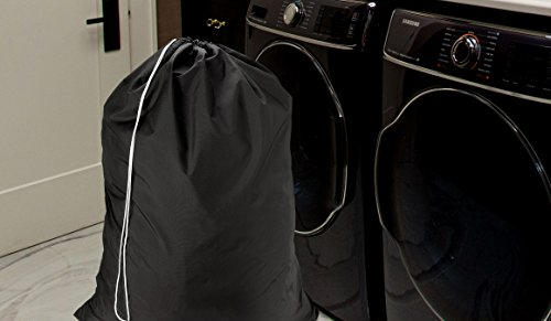Nylon Laundry Bag - Locking Drawstring Closure and Machine Washable. These Large Bags will Fit a Laundry Basket or Hamper and Strong Enough to Carry up to Three Loads of Clothes. (Black | 2-PACK) by Handy Laundry (Image #3)