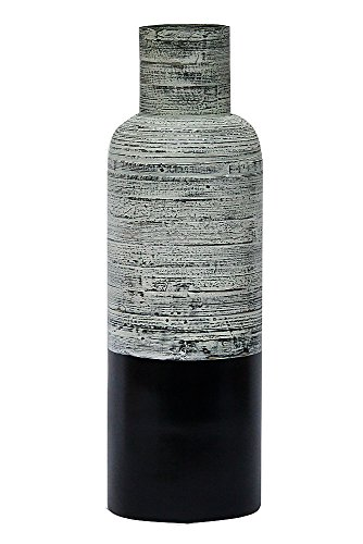 Heather Ann Creations Swire Collection Decorative Handcrafted Natural Bamboo Bottle Shaped Vase, Dirty White and Black Finish