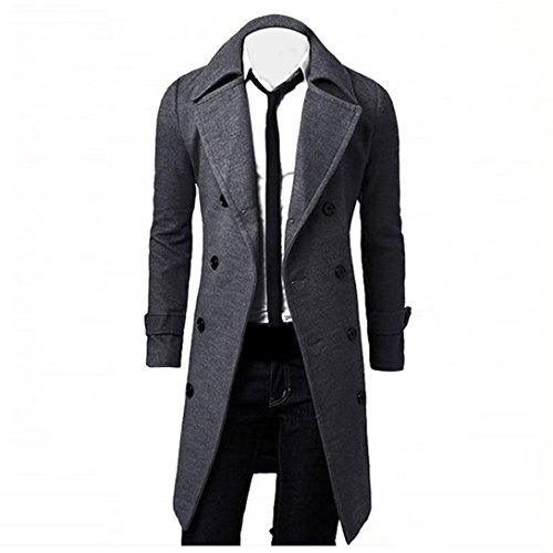 Qisc Mens Trench Coat Winter Wool Long Jacket Double ...
