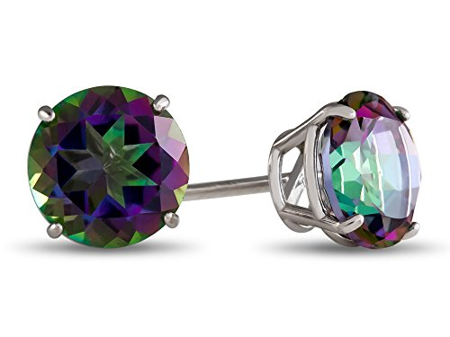 White Gold Topaz - Finejewelers 10k White Gold 7mm Round Mystic Topaz Post-With-Friction-Back Stud Earrings
