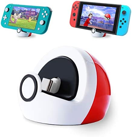 Antank Charging Stand for Nintendo Switch and Switch Lite, Type-c Port Charge Dock Station no Projection, Mini Compact Portable White & Red