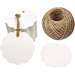100PCS White Scalloped Paper Label Tags, 6 CM Wedding Party Favor Tags, Bonbonniere Favor Gift Tag with Jute Twine 30 Meters Long for Crafts & Price Tags Labels (Flower Side-White)