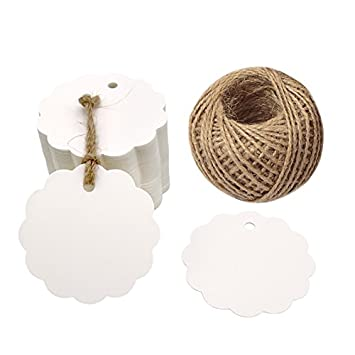 Organizing 120PCS Colorful Craft Scalloped Paper Label Tags with 66 Feet Jute Twines String for Wedding Birthday Party Decoration Gifts Arts /& Crafts