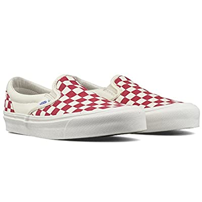 Vans Classic Slip On (Primary Checker) Racing Red/White Size 6.5