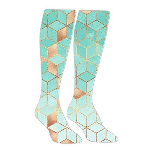 Yu2Ye Stylish Soft Gradient Aquamarine Cubes Knee High Socks/Long Stockings by Yu2Ye