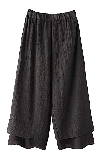 LaovanIn Women's Wide Leg Capri Pants Cotton Cropped Palazzo Trousers Culottes Large Black