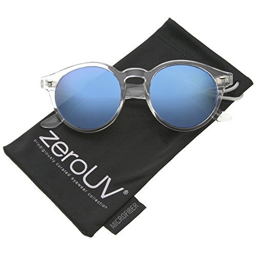 zeroUV - Retro Translucent Frame Color Mirror Lens Round Horn Rimmed Sunglasses 50mm (Clear / Blue - Rimmed Clear Sunglasses