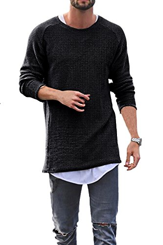 Men Sweater Knitted Pullover Long Baggy Crewneck Casual Long Sleeve Hip-Hop Solid Color by Daomumen