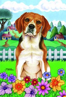 "Beagle – by Tomoyo Pitcher, Spring Dog Breed 28"" x 40"" Flag"