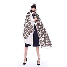 Threelove Women's Cashmere Plaid Scarf Blanket Wrap Shawl Coffee1