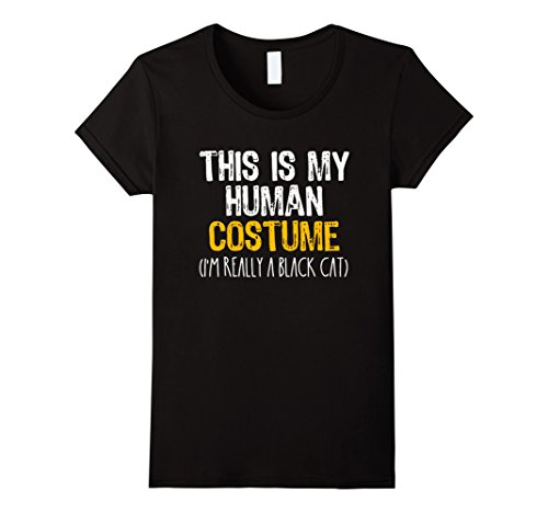 Womens This Is My Human Costume Black Cat Halloween Funny T-shirt Large (Black Cat Halloween Costume Ideas)