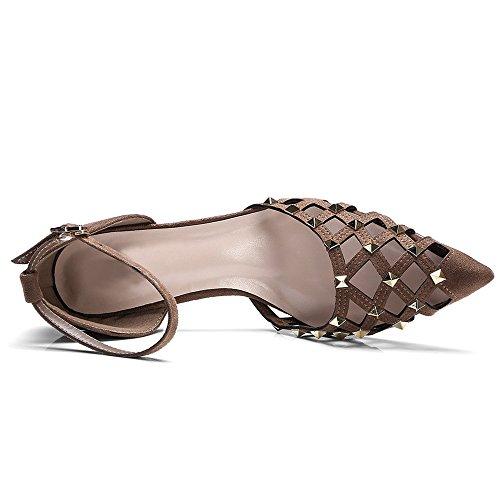 Nine Seven Moda Cuero Puntiagudos Sandalias de Tacón Aguja con Correa de Tobillo para Mujer marrón