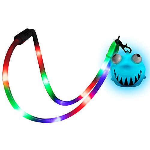 (LED Light Up Squeeze Shark Lanyard Necklace Toy for)