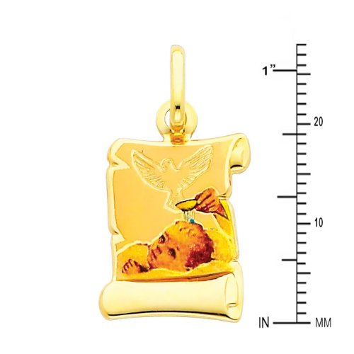 Wellingsale 14K Yellow Gold Polished Religious Baptism Enamel Charm Pendant with Holy Dove Accent