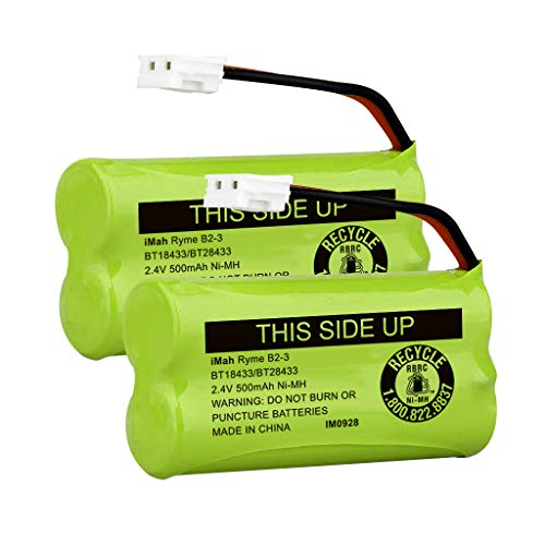 iMah BT18433/BT28433 2.4V 500mAh Ni-MH Cordless Phone Battery, Also Compatible with AT&T VTech BT184342/BT284342 BT8300 BT1011 BT1018 BT1022 BT1031 2SN-AAA55H-S-J1 CS6120 CS6209 CL80109, Pack of 2