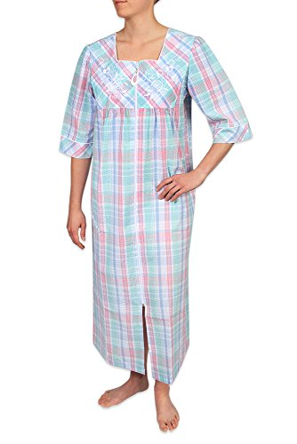 Heavenly Bodies Seersucker Robe, Long Coverup with Soft Lightweight Fabric 3/4 Sleeves and Easy On Full Zipper (Lightweight Zipper)