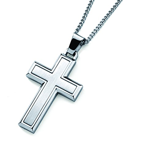 Boston Bay Diamonds Men's Stainless Steel Inlay Cross Pendant Necklace with 24