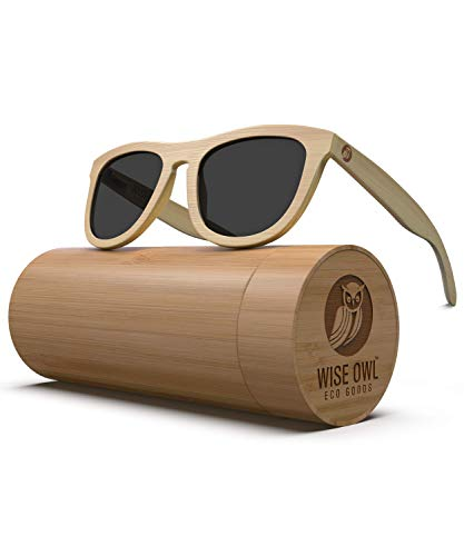 Polarized Bamboo Wood Sunglasses For Men & Women Featuring 10 LAYERED Lens |Wood Sunglasses With Distortion Free, Anti-Reflective & Anti-Scratch Lens -Light Weight Bamboo Sunglasses Wood Frame (1.1 Mm Polarized Lens)