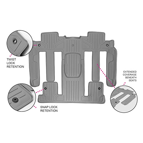 MAX LINER B2044-P MAXFLOORMAT Floor Mats New Full Coverage Traverse/Enclave/Acadia/Outlook with Bucket Seats Second/Third Row Grey (Seats Row Bucket Second)