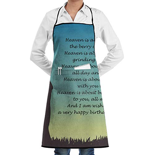 Lover Happy Birthday for Her Poems Aprons Bib Adjustable Polyester Adult Long Full Kitchen Chef Cooking Gardening Apron for Outdoor Restaurant BBQ Serving Grill Cleaning Crafting Baking -