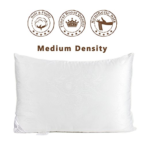 Medium Density Bed Pillows (The Duck And Goose Co Super Soft & Comfortable Antibacterial & Anti-mite Down Alternative Pillow, Jacquard Cover by Medium Density (One Pack)-Queen Size)