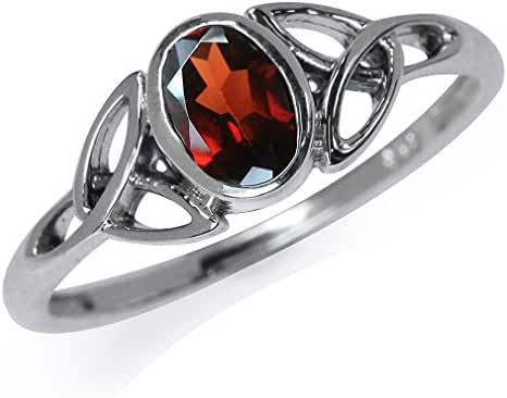 Natural Garnet 925 Sterling Silver Triquetra Celtic Knot Ring
