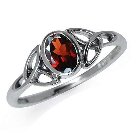 Natural Garnet 925 Sterling Silver Triquetra Celtic Knot Ring Size 7.5