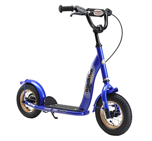 BIKESTAR Original Safety Pro Sport Push Kick Scooter Kids with Brakes, Mudguard and air Tires for Age 5 Year Old Children | Classic Edition with Alloy Wheels 10 Inch | Adventurous Blue