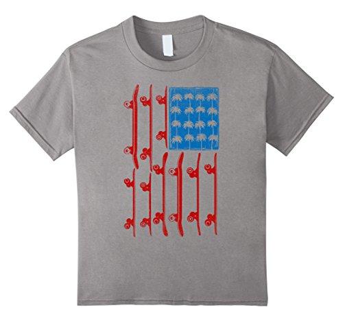 Kids American Flag Skateboard Palm Tree Distressed T-Shirt 10 Slate