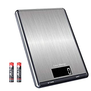 LanSheng, Food Scale, 10Kg/1g Multifunction Precision Kitchen Scale Weight Grams and oz, 7 Unit/Auto-Off/HD LCD Display/Stainless Steel Surface/Touch Button (Batteries Included)