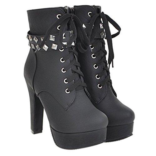 ENMAYER Frauen PU Material runde Zehe Zip Stilett High Heels Plattform schnüren sich oben Martin Ankle Boots Schwarz