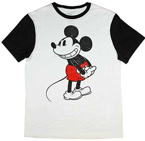 Disney Classic Mickey Mouse Cartoon Ringer Vintage Mens T-Shirt (Large, White) -