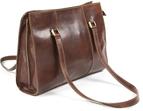Sac à bandoulière pour femme en cuir italien véritable sac à main marron