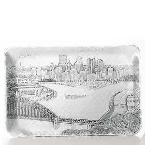 Serving Pewter Pieces (Wendell August Pittsburgh Cityscape Sandwich Tray)