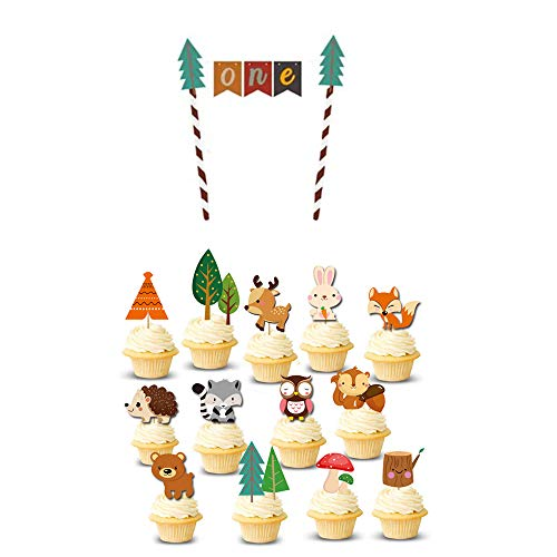LVEUD Forest Animal Theme Series Birthday Cake Topper Set, Birthday Party Decorations,Girls, Boys, of Various Party Decorations (one)