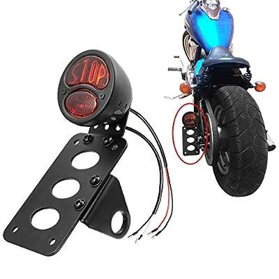 "Amazicha Motorcycle LED Tail Light Brake Rear light 1"" side mount License Plate Bracket for Harley Sporster Bobber Chopper Sportster: Automotive"