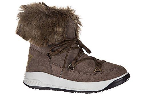 Emporio Ski Boots Brown Women's EA7 Armani Fur Ankle Suede Nano Booties Hr1AHqw