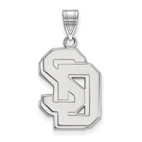10k White Gold LogoArt Official Licensed Collegiate University of South Dakota (USD) Large Pendant by Logo Art