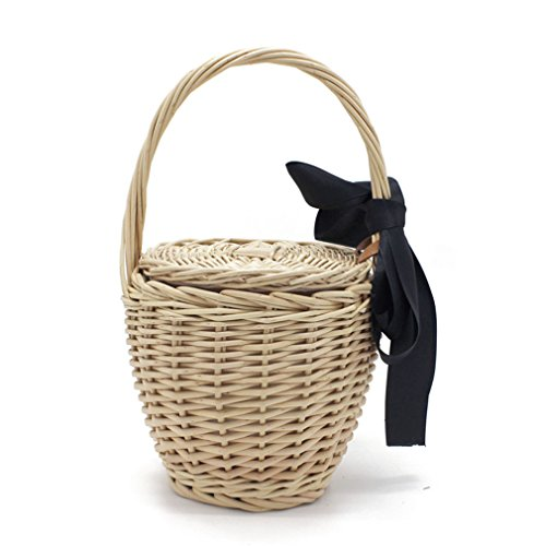 WIEJDHJ Beach Handbags Ladies Hand Bag Tote Travel Clutch Bohemian Straw Bags Women Summer Wicker Basket Bag Beige