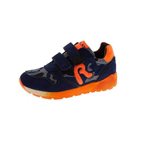 REPLAY Zapatillas Niño Velcros Genesis Camuflaje Azul-Naranja