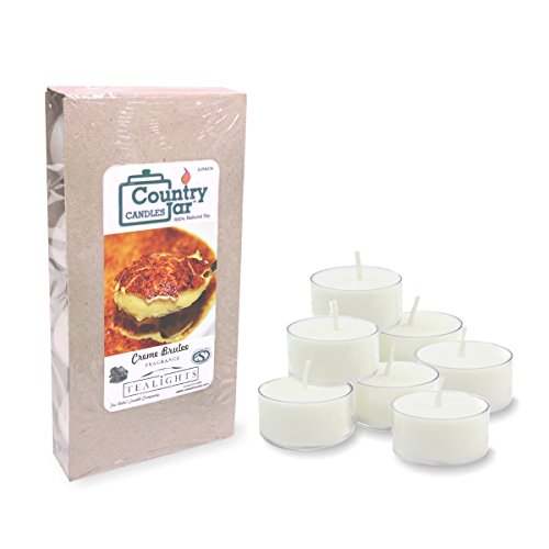 Country Jar Creme Brulee Soy Candle.75 oz. Tealights 8-pk, White, 45-65Bh (Burn Hours) (Soy Creme Brule Candle)
