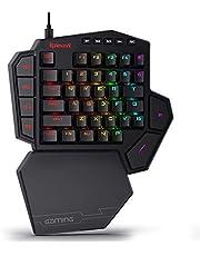 Redragon K585 DITI Einhand Tastatur Gaming Mechanische Tastatur, 42 Programmable Tasten E-Sport Tastatur, Blaue Schalter, RGB Beleuchtung, 7 Makro-Tasten, mit Magnetisch Abnehmbare Handgelenkauflage