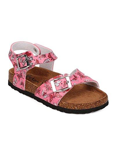 Big Buckle Sandals (BETANI EG31 Leatherette Floral Open Toe Ankle Strap Buckle Footbed Sandal (Little Girl/Big Girl) - Pink (Size: Little Kid 2))