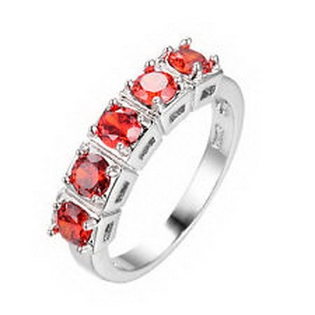 jacob alex ring 4MM Round Garnet Ruby Wedding Band Size 10 Ring 10KT White Gold Filled Jewelry