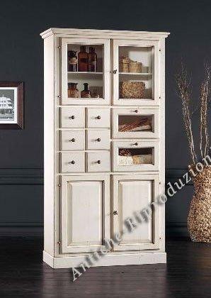 Möbel Buffet, Buffetschrank, Küchenbuffet, cm 107 x 45, h 203 - Holz, Klassisch, Italienischer Produktion