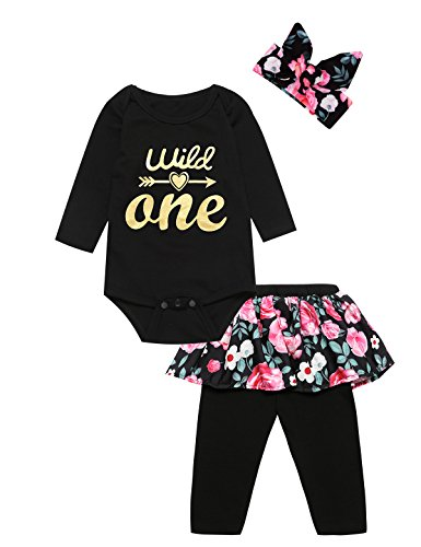 3PCS Outfit Long Set Baby Girls Floral Shirt + Pants + Headband (12-18 Months, Wild One Long) (Gift Birthday Girl First)