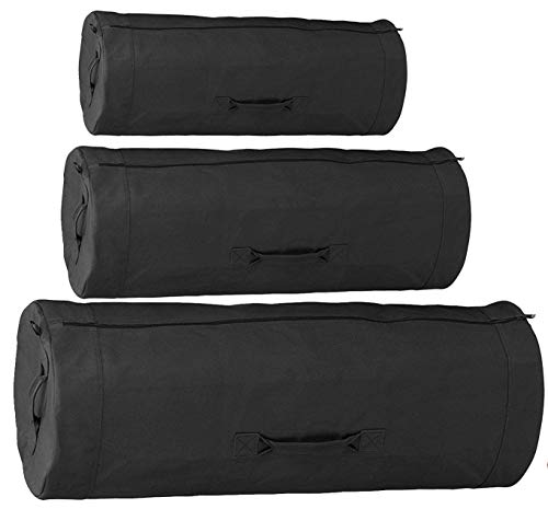 Heavy Duty Cotton Canvas SIDE ZIPPER Duffle Bag with Pin - Black, Giant - 50